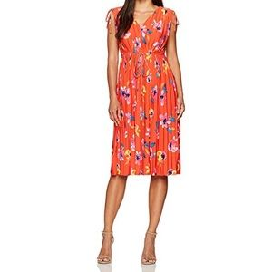 Ellen Tracy coral red floral dress small